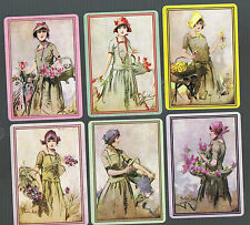 Modern Wide Single Linen Swap Playing Card Deco Ladies Having Cocktails