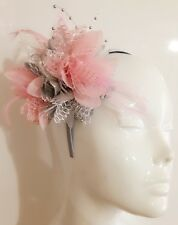 BESPOKE Silver Grey Baby Pink Fascinator on Headband Flower Corsage Ascot Races
