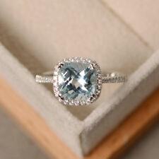 2.85 Ct Natural Diamond Aquamarine Gemstone Rings 14kt White Gold Size 5 6 7 8 9