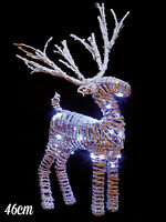 46cm Light Up Rattan Reindeer Christmas Decoration White Wire LEDs Xmas Festive