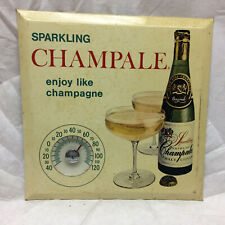 Vtg Thermometer Advertising Sparkling Champale Wall Hanging Store Ad Man Cave