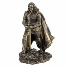 """8.25"""" King Arthur & the Sword in the Stone Statue Sculpture Medieval Home Decor"""