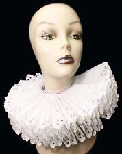 Ruffled Collar White Cotton Eyelet Elizabethan Neck Ruff Victorian Steampunk