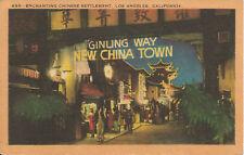 Ginling Way-Night View-China Town-Los Angeles-California-Vintage Postard