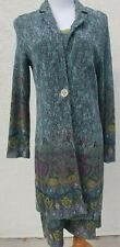 CATHERINE ANDRE BLUE & BROWN W FLORAL TRIM LONG CARDIGAN
