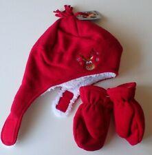 Kids Winter Sherpa Fleece Lined Beanie Hat w/ Mittens Red Sz 2-4