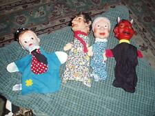 Vintage 3 Western Germany Punch Judy & Tommy Tramp Knickerbocker Puppet Lot Of 4