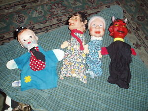 Vintage 3 Western Germany Punch Judy & Tommy Tramp Knickerbocker Puppet Lot Of 4