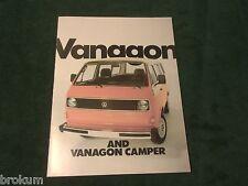 MINT 1982 VW VOLKSWAGEN VANAGON & CAMPER VAN SALES BROCHURE 16 PAGE (BOX 771)