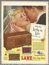 1947 LANE Cedar Chests advertisement, Lane Hope Chest, bride & groom