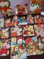 22 Vtg Christmas Greeting Card Diecut Animals Penguin Bears Dogs Flocked,lot 50s