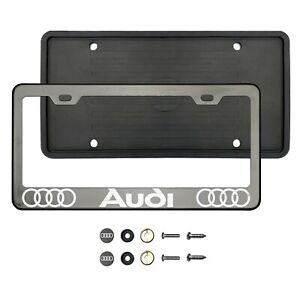 4udi LaserEtched Black Smoke Chrome Stainless Steel License Frame Silicone Guard