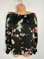 BNWT WOMENS DOROTHY PERKINS TALL UK 12 BLACK MIX FLORAL BARDOT LONG SLEEVED TOP