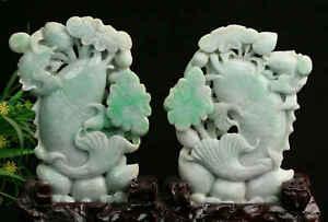 Cert'd Green Natural Grade A Jade jadeite Sculpture Statue couple fish z918923