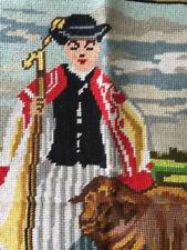 """Vtg Needlepoint Goblen Art Tapestry Hungarian Shepherd 13x17"""" Fiber Art OOAK"""