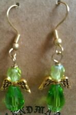 Light Green Beads Gold Filled Angel Spirituality Dangle Earrings