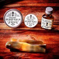 Organic Beard Oil, Beard Balm, Wax, Ox Horn Comb, Starter Kit by Revered Beard.