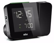 Braun Digital Radio Controlled Projection Clock Black UK Adaptor - BNC015BKUK-RC