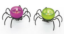 ~Rare~ITSY BITSY~Tealight Holder Pair~Creepy Spider Fun~HALLOWEEN~Partylite~NEW~