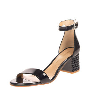 RRP €140 BRUNO PREMI Leather Ankle Strap Sandals Size 36 UK 3 US 6 Textured Heel