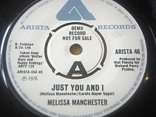 """MELISSA MANCHESTER - JUST YOU AND I      7"""" VINYL DEMO"""
