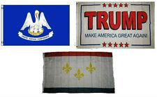 3x5 Trump White #2 & State Louisiana & City New Orleans Wholesale Set Flag 3'x5'
