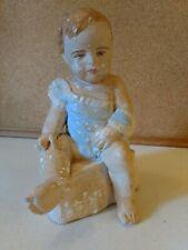 Vintage Chalkware Baby Figurine Statue Chippy Paint Chalk Ware blue eyes