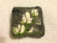 Unique needle felted handmade 'White Magnolias at night ' brooch. - OOAK