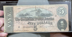 1864 $5 Five Dollars ~ Confederate States Of America Currency Note ~ Richmond