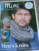 The Knitter Mini Collection Knitting Pattern Man's DK Cowl, Hat & Cabled Mitts