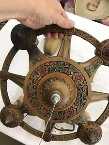 Antique Art Deco Ceiling 4 Light Fixture Gold Green Red COLORFUL Lincoln Mfg Co.