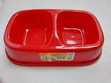 VITAKRAFT Double Pet Dog Cat Bowl Feeding Drinking Plastic Dish Feeder Red