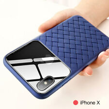 Weaving TPU Grid + Tempered Glass Case Cover For iPhone Xs Max Xr X 6S 7 8 Plus