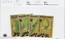 1987 Norfolk Sc# 921 a-d Θ used Green Parrot - WWF panda logo postal stamp set