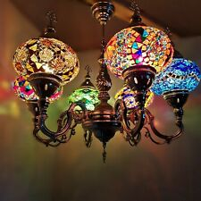 Turkish Moroccan Large Coloured Glass Mosaic Chandelier Lamp Light 6 Bulb * CE *