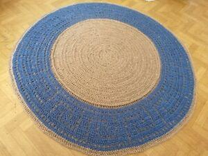Bohemian Jute Round natural handmade crochet rug bedroom kitchen livingroom