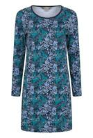 Mountain Warehouse Womens Navy Blue Teal Floral Cotton JerseyTunic Pocket Dress