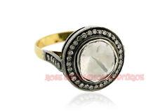 1.10ct Silver Polki Wedding Ring Jewelry Estate Antique Vintage Rose Cut Diamond