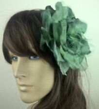 dark green large satin flower hair clip headpiece fascinator beach wedding