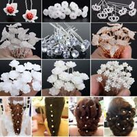 Luxury Wedding Pearl Hair Pin Clip Crystal Rhinestone Hairpins Sticks 20/40PCS