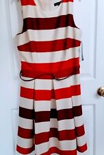Madison Leigh Lined Belted Sheath Dress Beige Burgandy Striped Size 18