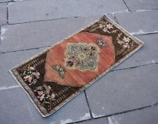 "Vintage Turkish Small Rug Antique Wool Anatolian Hand Knotted 17.3"" x 37.8"" inc"