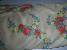 Vintage fabric - 3.5yds cream floral poly jersey 1970s