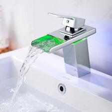Suguword LED luce rubinetto per lavabo con sensore di temperatura idroelettrica cascata per lavabo lavabo rubinetto in ottone cromato/ /pi/ù sicura per lavandino in bagno cucina