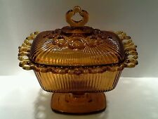 Vintage Amber Indiana Glass Wedding Box Candy Dish