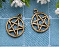 20pcs Tibetan Bronze Pagan Wicca Gothic pentagram Charms Pendant DIY 20x16mm