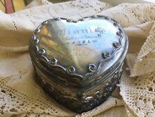 Antique vintage art nouveau silver plate jewelry box w Minnie Christmas 1904