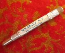 Vintage 40's Aluminum Ransomville New York Insurance BULLET PENCIL ADVERTISING