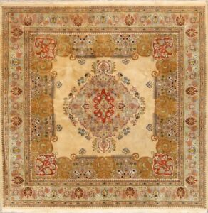 Vintage Geometric Ivory Traditional Area Rug Wool Oriental Carpet Square 8x8 ft
