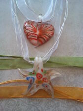 Lampwork Glass Orange Gold White Starfish Pendant Yellow Green Necklace